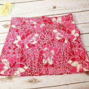 Lilly Pulitzer Floral Corduroy Mini Skirt sz 2